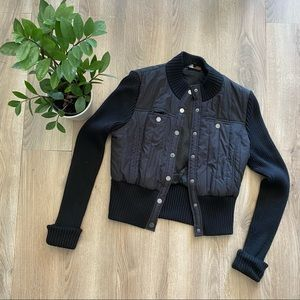 BCBG MAXAZRIA Black Cropped Bomber Jacket